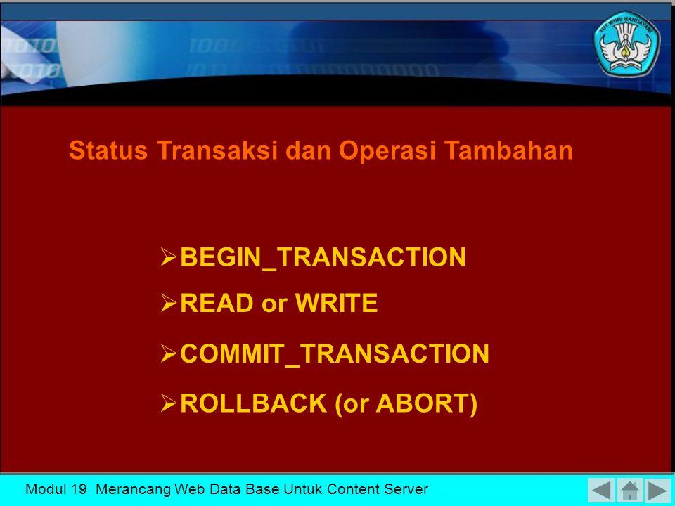 Status Transaksi dan Operasi Tambahan