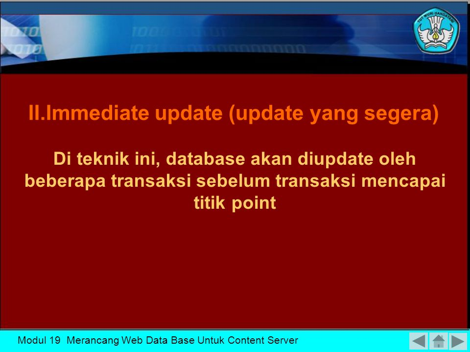 II.Immediate update (update yang segera)
