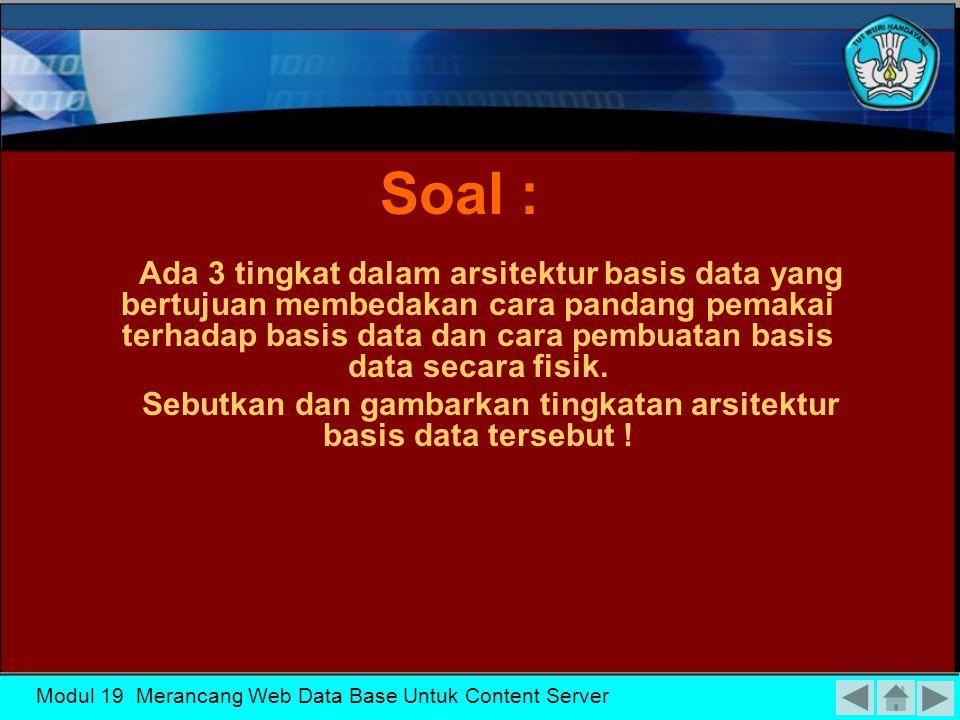 Sebutkan dan gambarkan tingkatan arsitektur basis data tersebut !