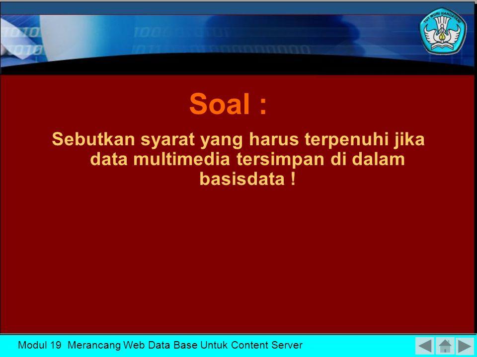 KK-19 Soal : Sebutkan syarat yang harus terpenuhi jika data multimedia tersimpan di dalam basisdata !