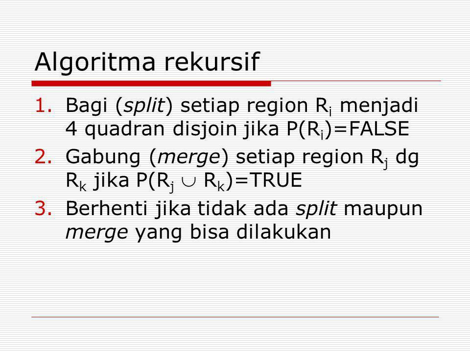 Algoritma rekursif Bagi (split) setiap region Ri menjadi 4 quadran disjoin jika P(Ri)=FALSE.
