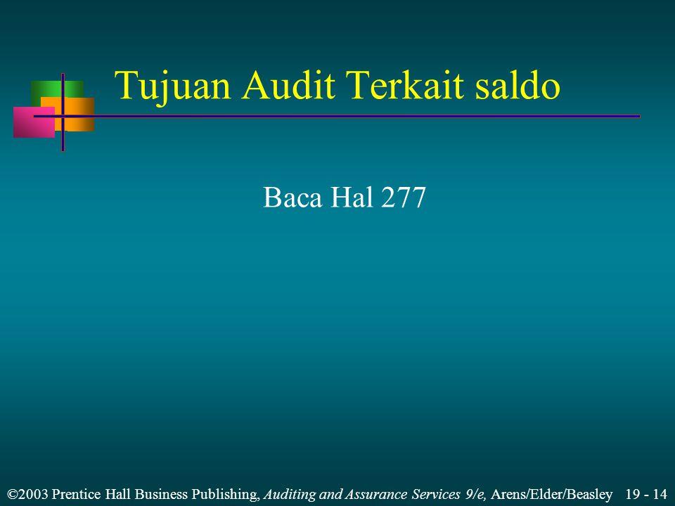 Tujuan Audit Terkait saldo