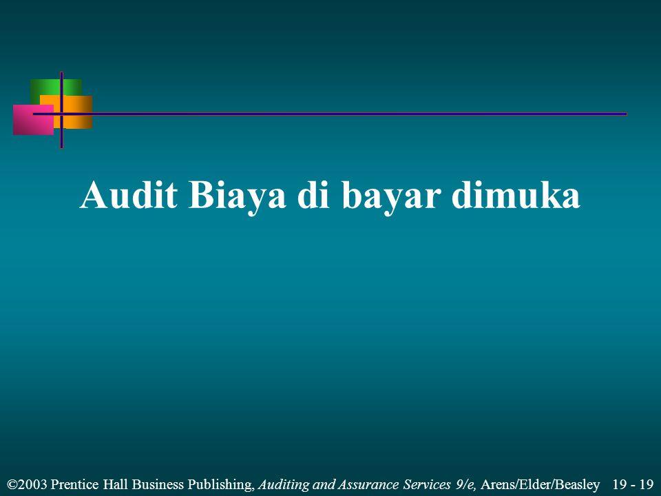 Audit Biaya di bayar dimuka
