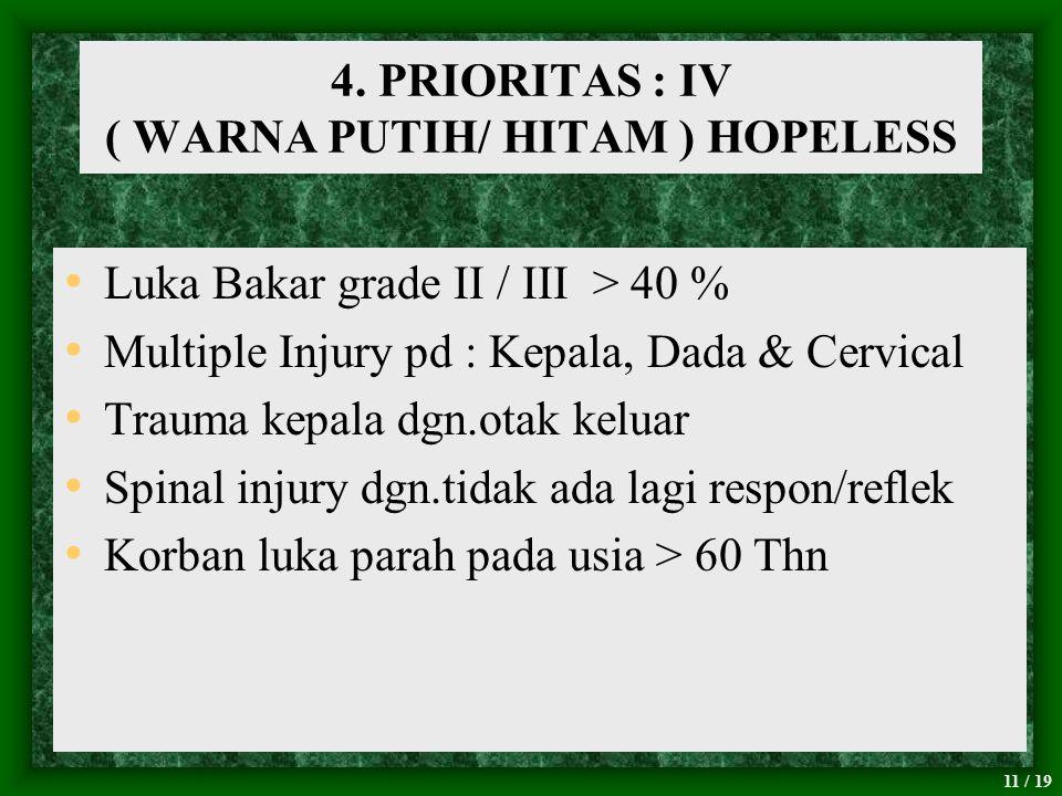 4. PRIORITAS : IV ( WARNA PUTIH/ HITAM ) HOPELESS