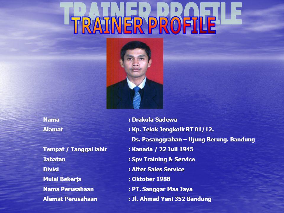 TRAINER PROFILE Nama : Drakula Sadewa. Alamat : Kp. Telok Jengkolk RT 01/12. Ds. Pasanggrahan – Ujung Berung. Bandung.