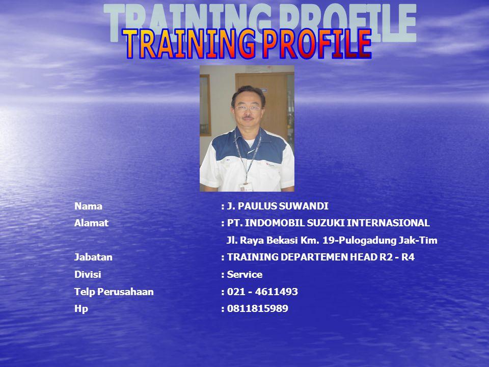 TRAINING PROFILE Nama : J. PAULUS SUWANDI. Alamat : PT. INDOMOBIL SUZUKI INTERNASIONAL. Jl. Raya Bekasi Km. 19-Pulogadung Jak-Tim.