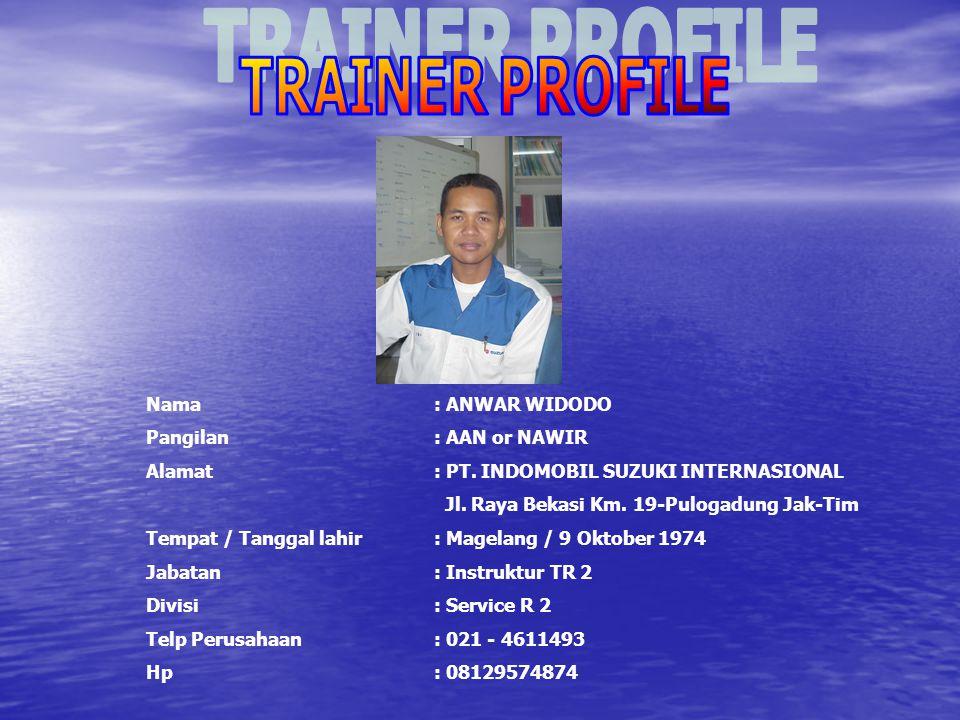 TRAINER PROFILE Nama : ANWAR WIDODO. Pangilan : AAN or NAWIR. Alamat : PT. INDOMOBIL SUZUKI INTERNASIONAL.