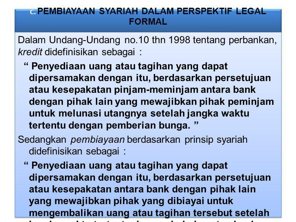 C. PEMBIAYAAN SYARIAH DALAM PERSPEKTIF LEGAL FORMAL