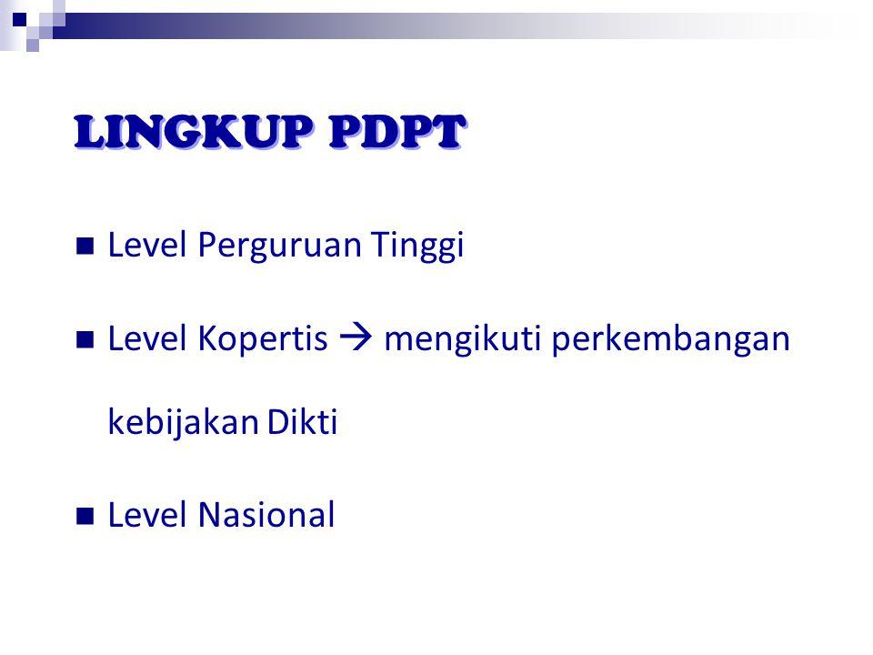LINGKUP PDPT Level Perguruan Tinggi