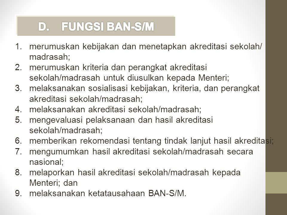 FUNGSI BAN-S/M merumuskan kebijakan dan menetapkan akreditasi sekolah/ madrasah;