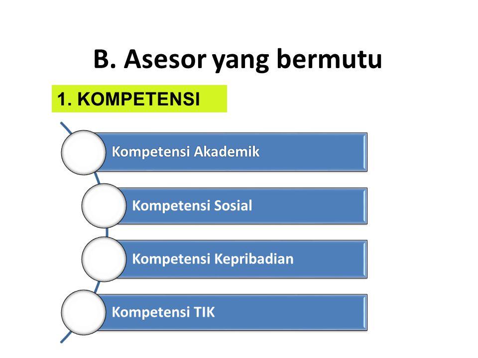 B. Asesor yang bermutu 1. KOMPETENSI Kompetensi Akademik