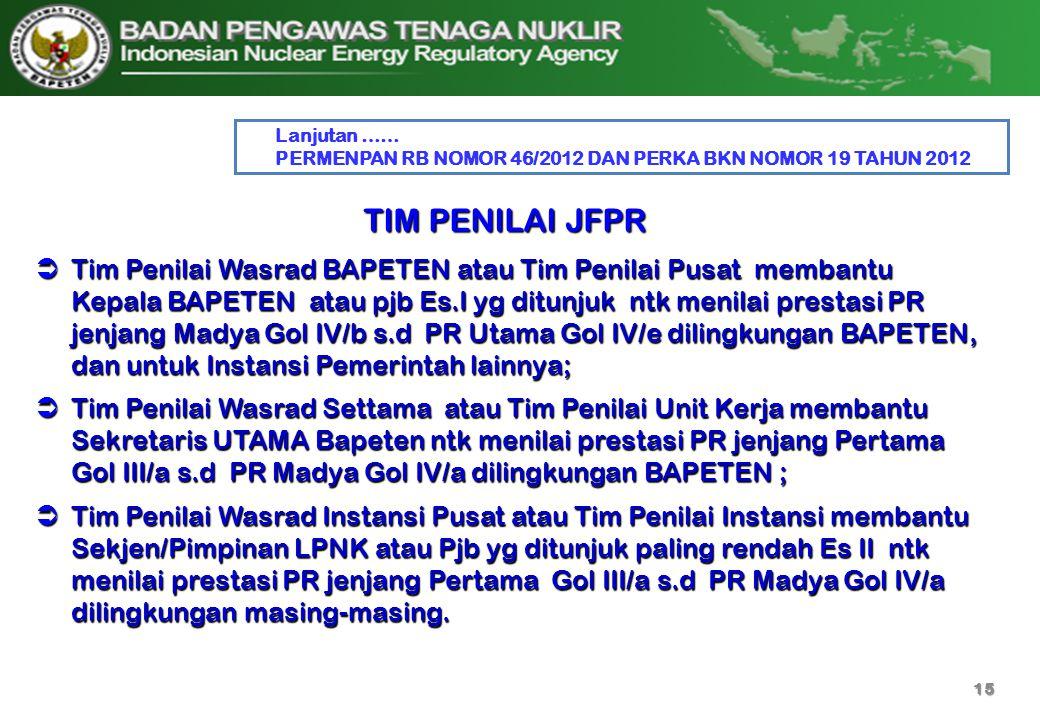 Lanjutan …… PERMENPAN RB NOMOR 46/2012 DAN PERKA BKN NOMOR 19 TAHUN 2012. TIM PENILAI JFPR.