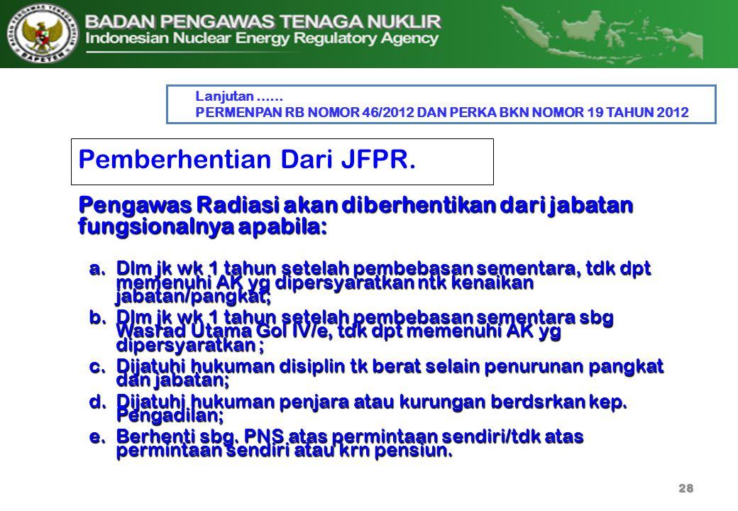 Pemberhentian Dari JFPR.