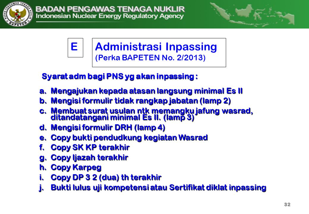 Administrasi Inpassing (Perka BAPETEN No. 2/2013)