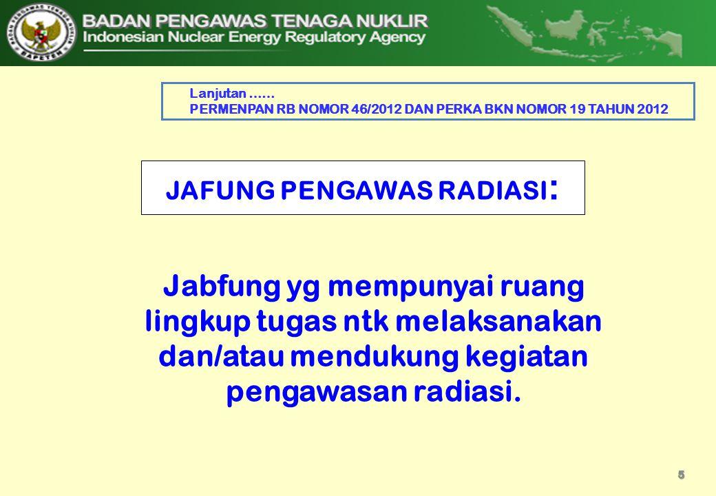 JAFUNG PENGAWAS RADIASI: