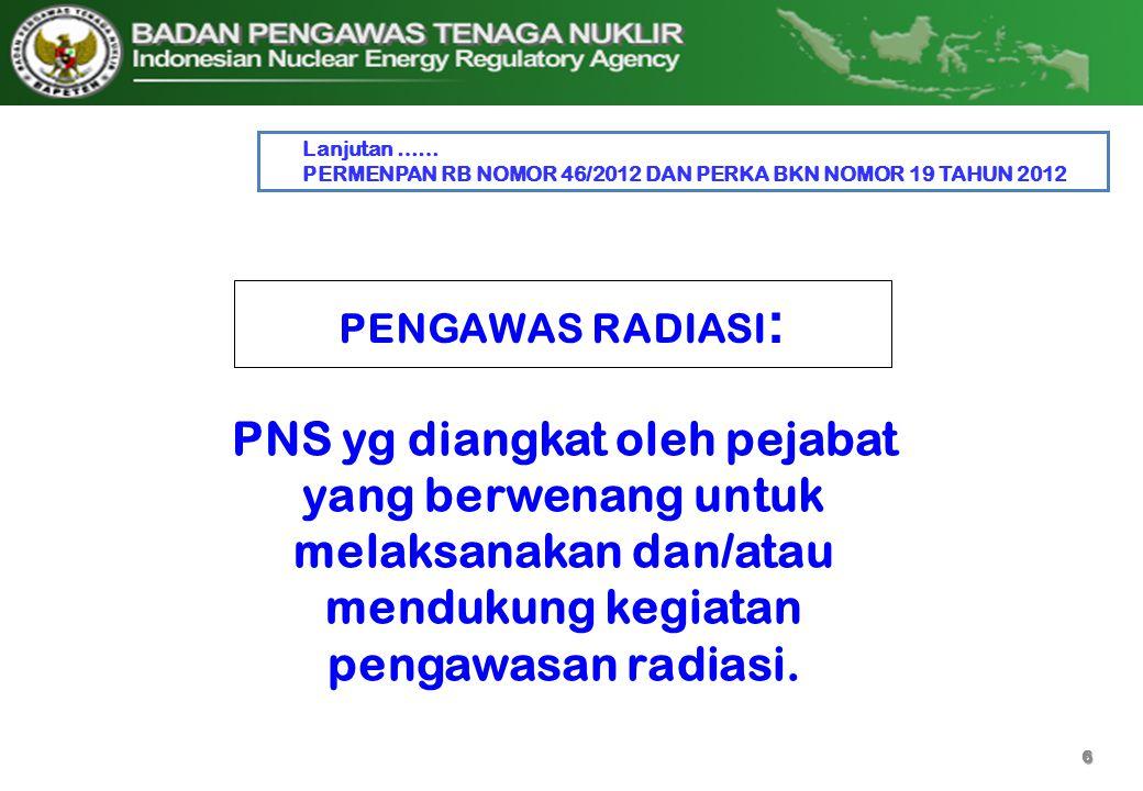Lanjutan …… PERMENPAN RB NOMOR 46/2012 DAN PERKA BKN NOMOR 19 TAHUN 2012. PENGAWAS RADIASI:
