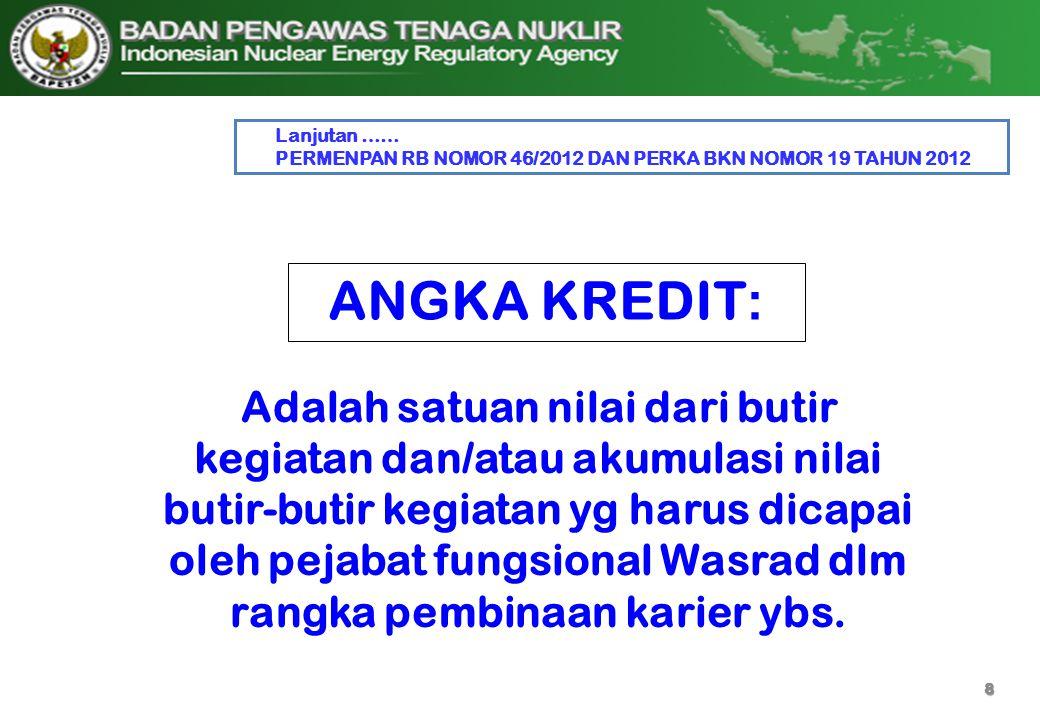 Lanjutan …… PERMENPAN RB NOMOR 46/2012 DAN PERKA BKN NOMOR 19 TAHUN 2012. ANGKA KREDIT: