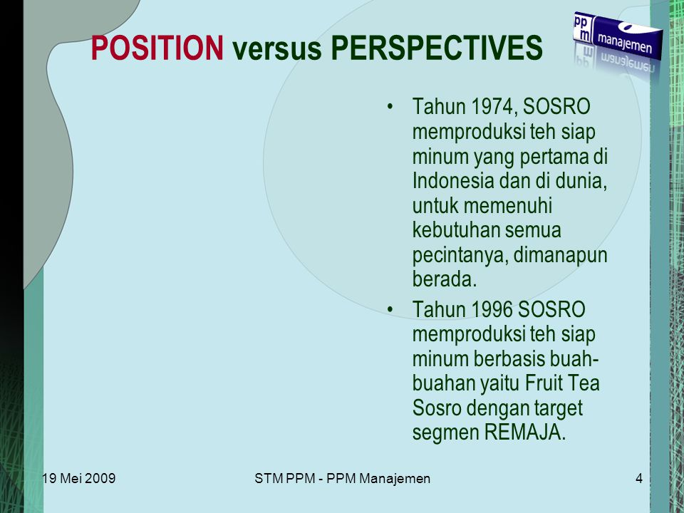 POSITION versus PERSPECTIVES