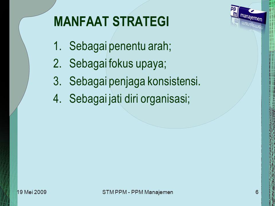MANFAAT STRATEGI Sebagai penentu arah; Sebagai fokus upaya;