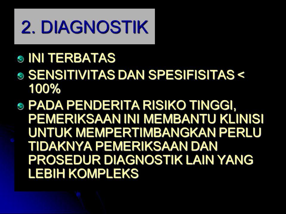 2. DIAGNOSTIK INI TERBATAS SENSITIVITAS DAN SPESIFISITAS < 100%
