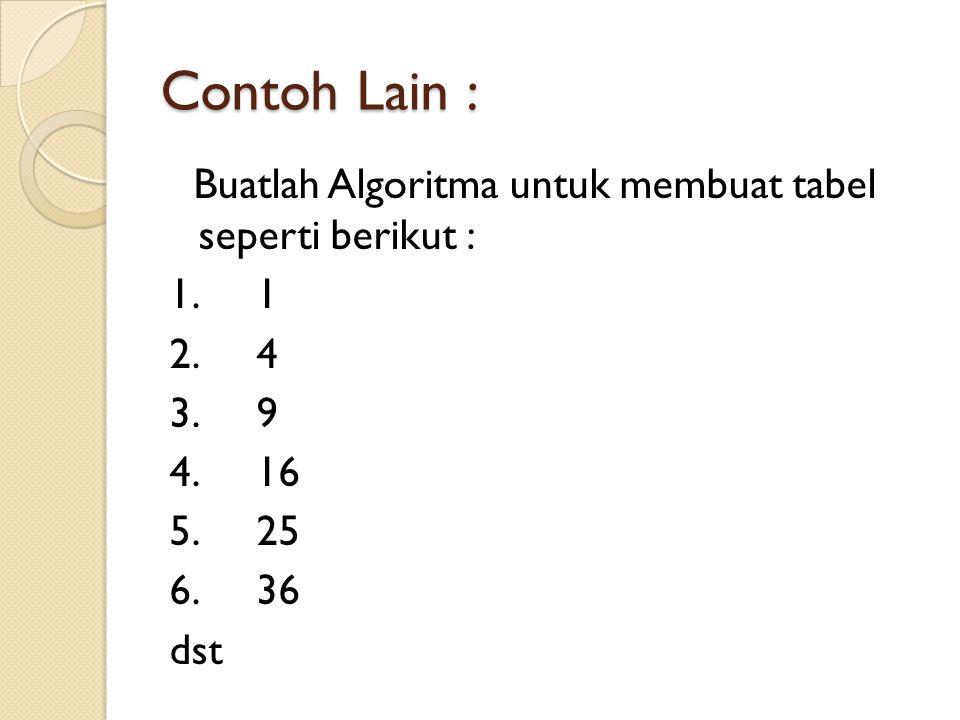 Contoh Lain : Buatlah Algoritma untuk membuat tabel seperti berikut : 1.