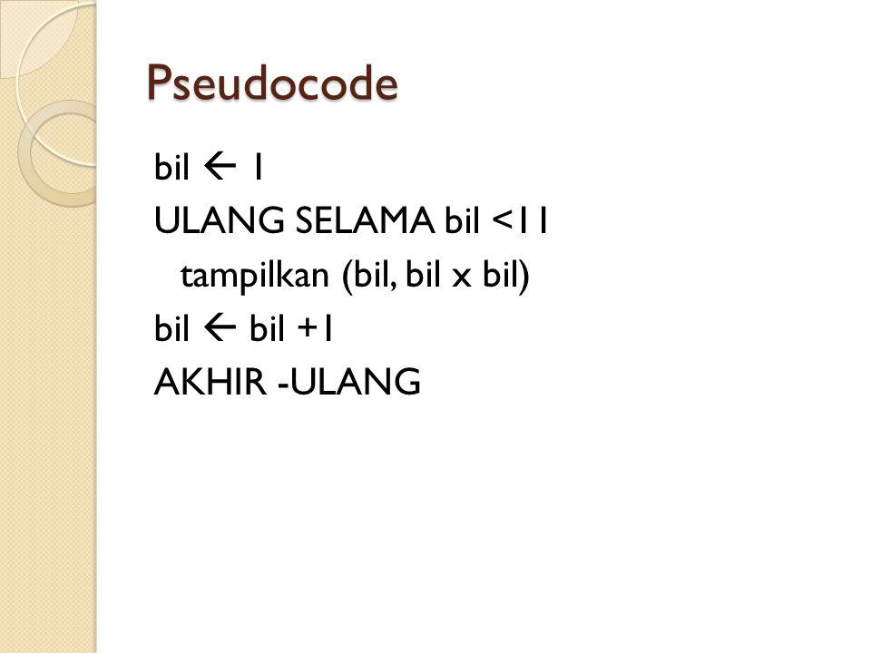 Pseudocode bil  1 ULANG SELAMA bil <11 tampilkan (bil, bil x bil) bil  bil +1 AKHIR -ULANG