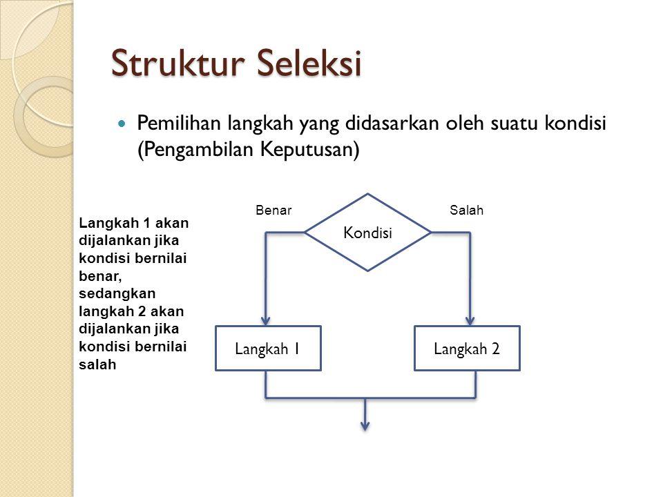 Struktur Seleksi Pemilihan langkah yang didasarkan oleh suatu kondisi (Pengambilan Keputusan) Kondisi.