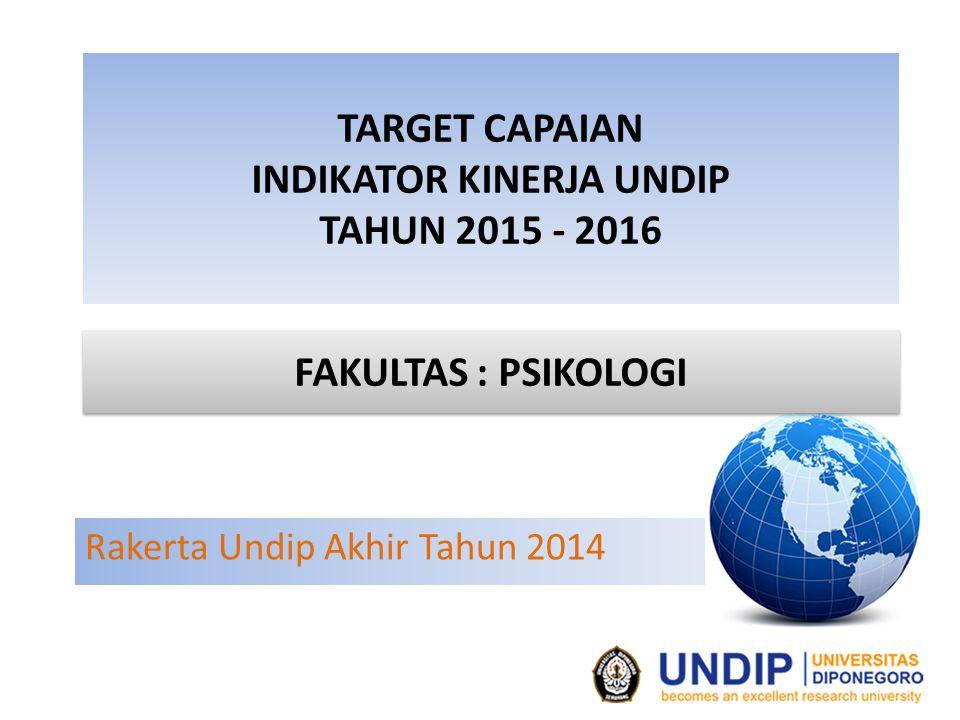 TARGET CAPAIAN INDIKATOR KINERJA UNDIP TAHUN 2015 - 2016