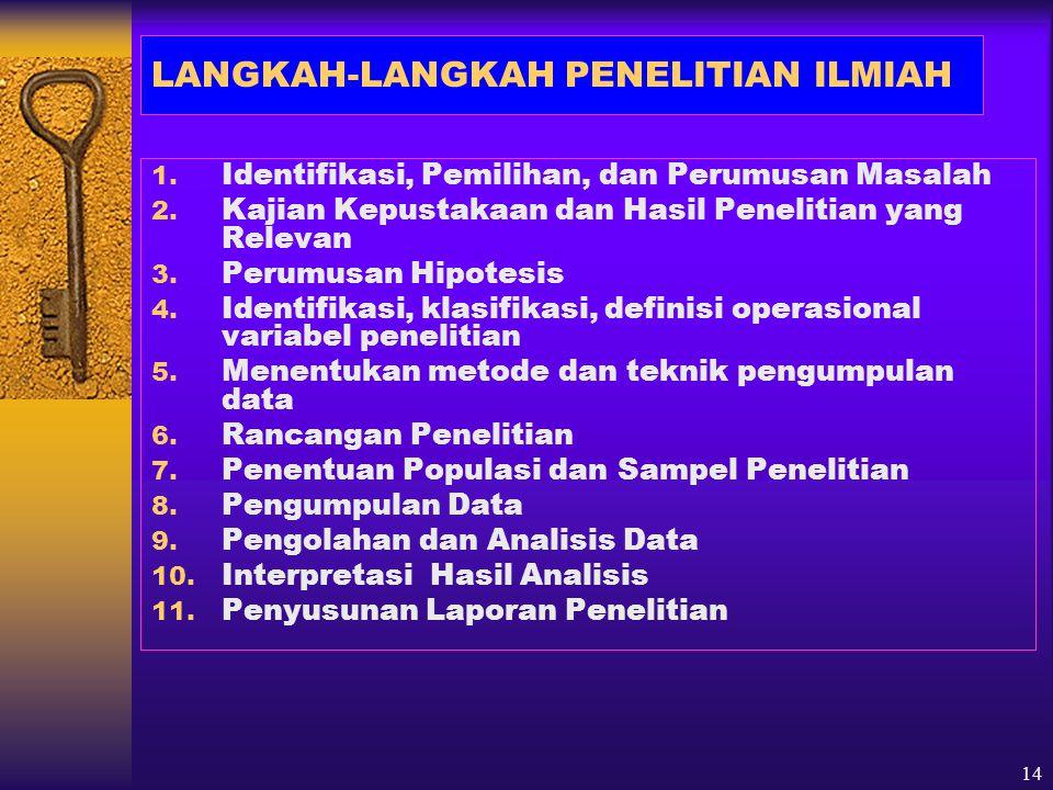 LANGKAH-LANGKAH PENELITIAN ILMIAH