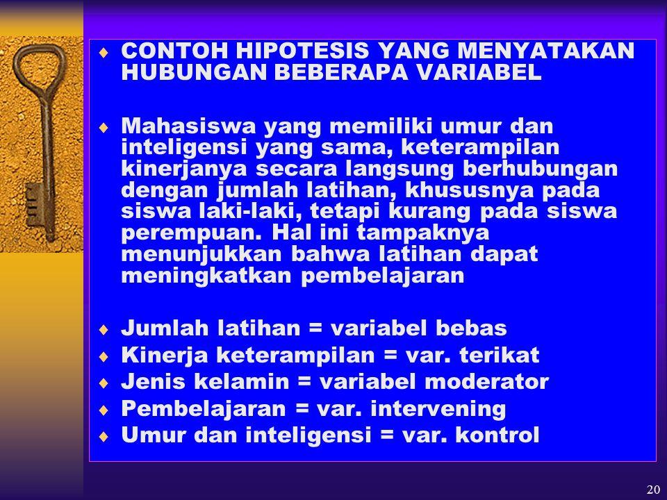 CONTOH HIPOTESIS YANG MENYATAKAN HUBUNGAN BEBERAPA VARIABEL