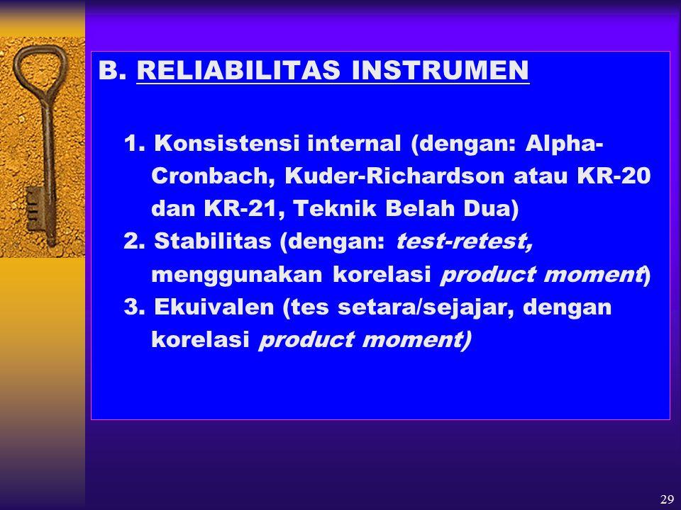 B. RELIABILITAS INSTRUMEN