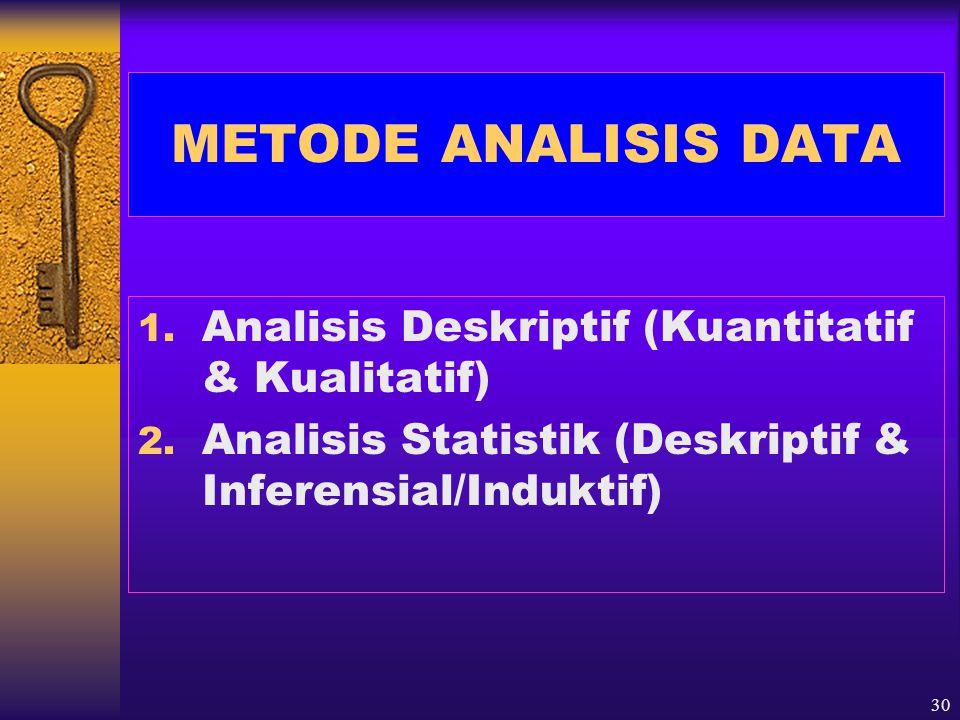 METODE ANALISIS DATA Analisis Deskriptif (Kuantitatif & Kualitatif)