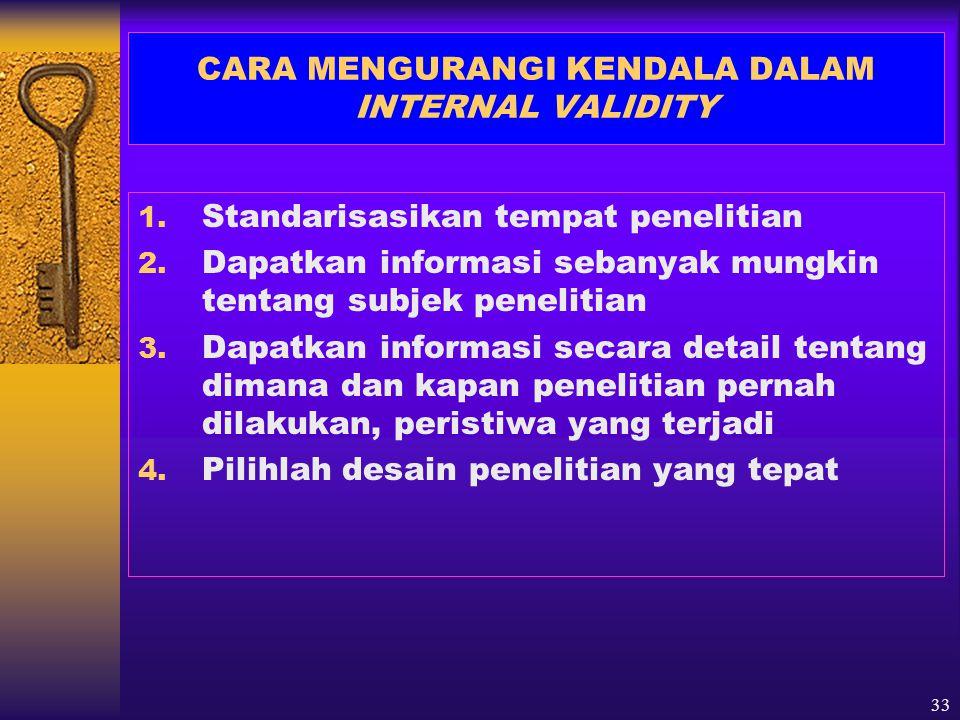 CARA MENGURANGI KENDALA DALAM INTERNAL VALIDITY