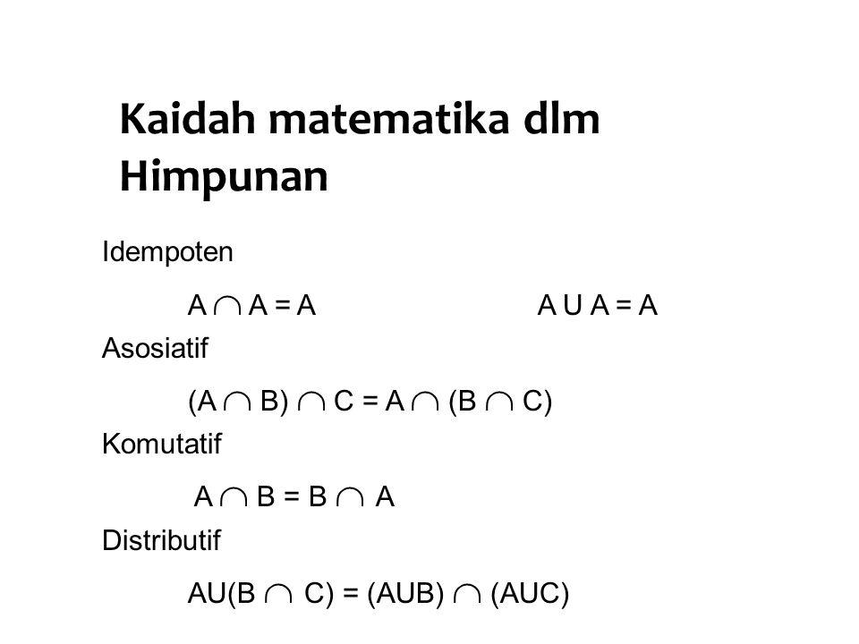 Kaidah matematika dlm Himpunan