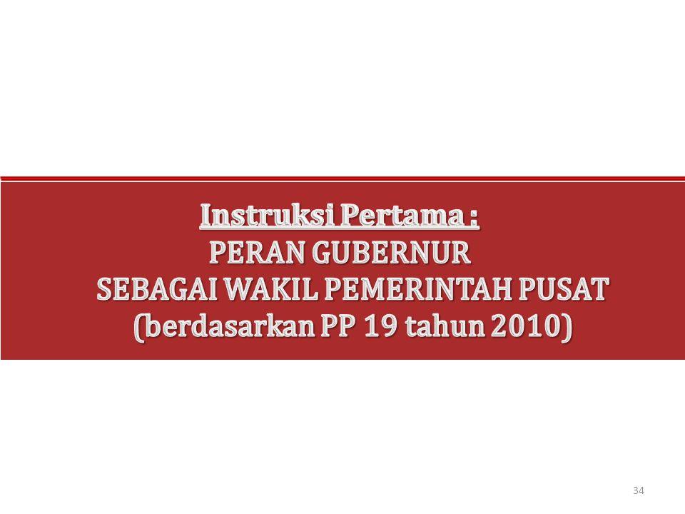 Instruksi Pertama : PERAN GUBERNUR SEBAGAI WAKIL PEMERINTAH PUSAT (berdasarkan PP 19 tahun 2010)