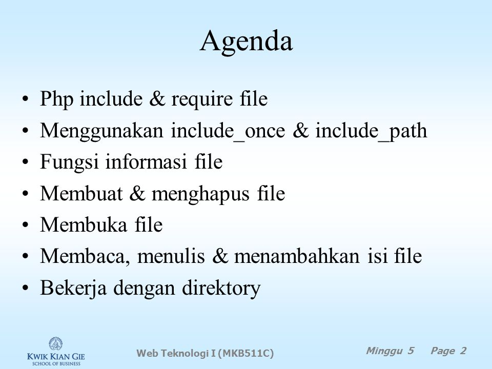 Agenda Php include & require file