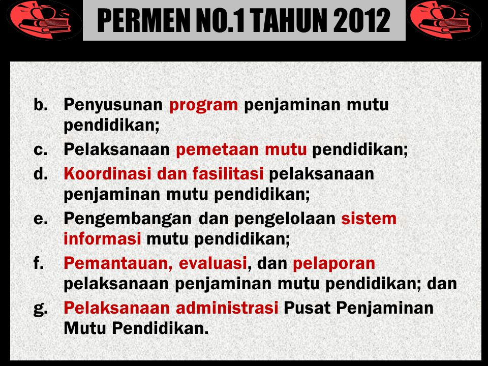 PERMEN NO.1 TAHUN 2012 b. Penyusunan program penjaminan mutu pendidikan; c. Pelaksanaan pemetaan mutu pendidikan;
