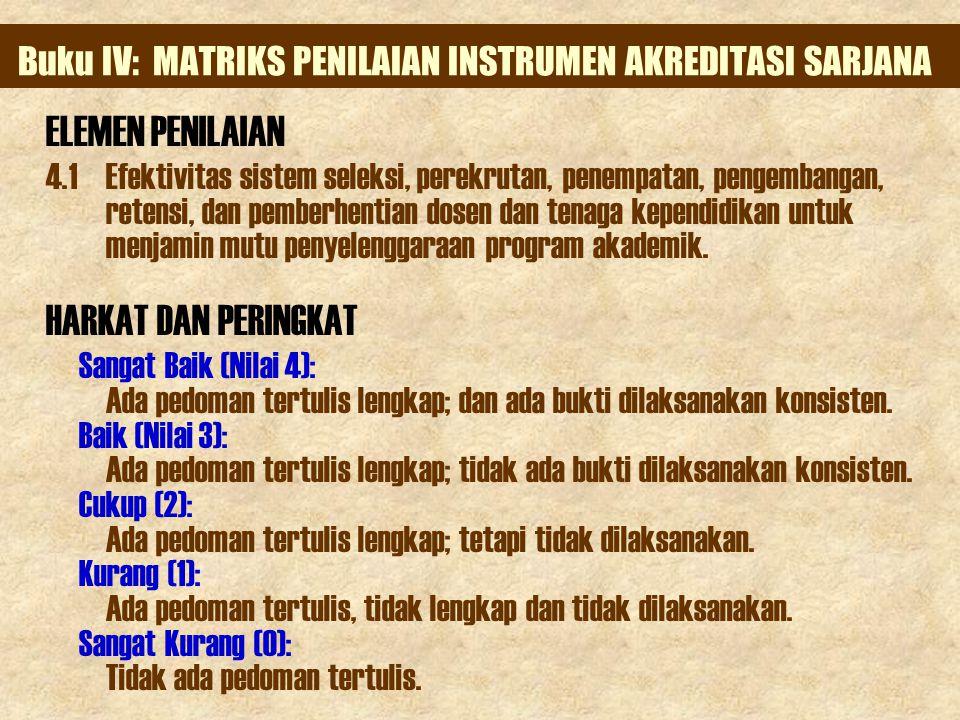 Buku IV: MATRIKS PENILAIAN INSTRUMEN AKREDITASI SARJANA