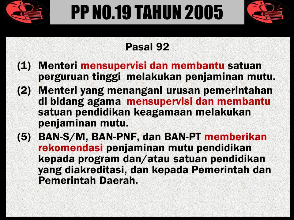 PP NO.19 TAHUN 2005 Pasal 92. (1) Menteri mensupervisi dan membantu satuan perguruan tinggi melakukan penjaminan mutu.