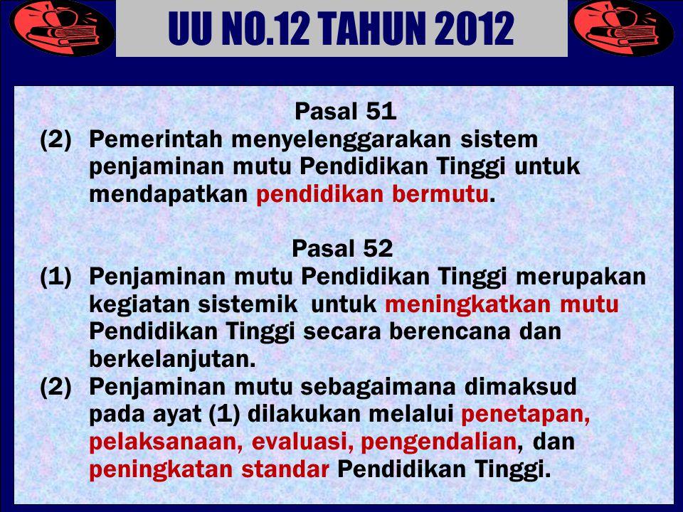 UU NO.12 TAHUN 2012 Pasal 51. (2) Pemerintah menyelenggarakan sistem penjaminan mutu Pendidikan Tinggi untuk mendapatkan pendidikan bermutu.