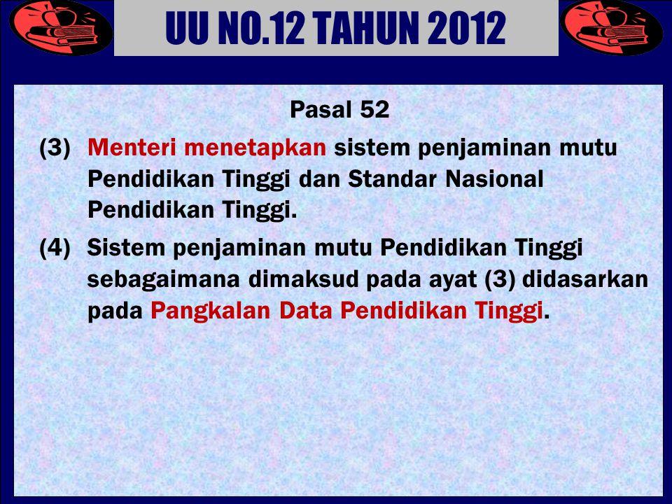 UU NO.12 TAHUN 2012 Pasal 52. (3) Menteri menetapkan sistem penjaminan mutu Pendidikan Tinggi dan Standar Nasional Pendidikan Tinggi.