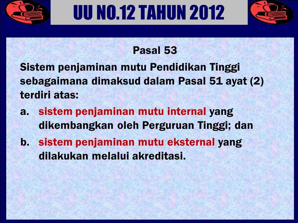 UU NO.12 TAHUN 2012 Pasal 53. Sistem penjaminan mutu Pendidikan Tinggi sebagaimana dimaksud dalam Pasal 51 ayat (2) terdiri atas: