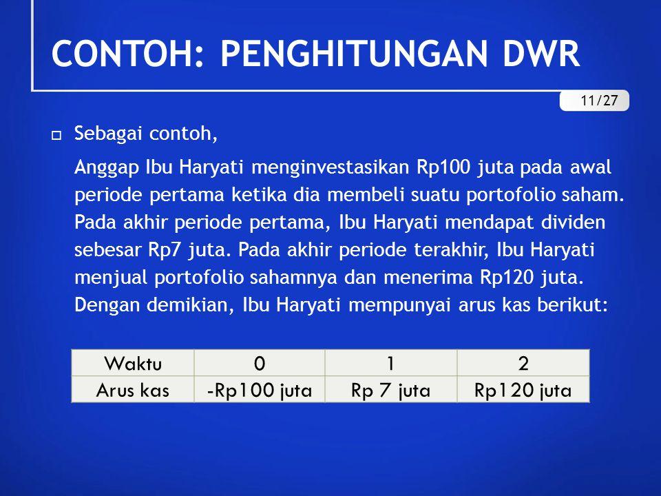 CONTOH: PENGHITUNGAN DWR