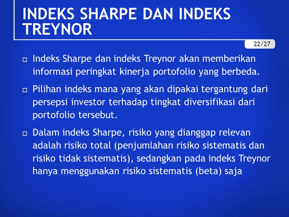 INDEKS SHARPE DAN INDEKS TREYNOR