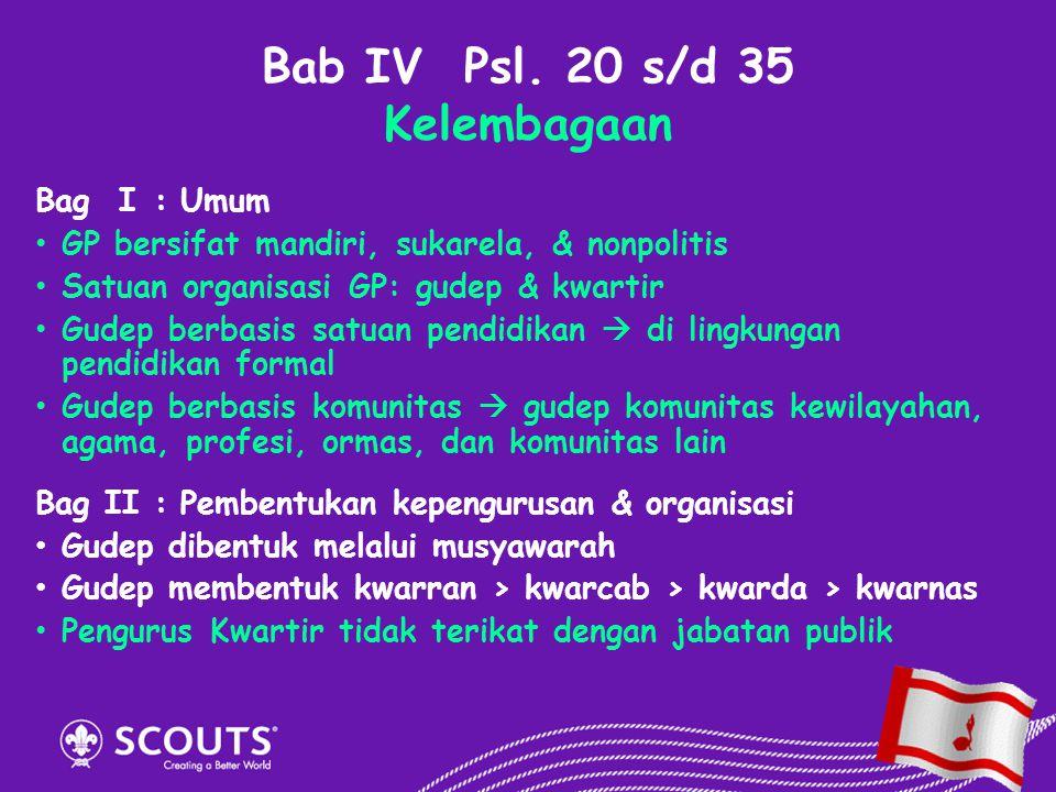 Bab IV Psl. 20 s/d 35 Kelembagaan