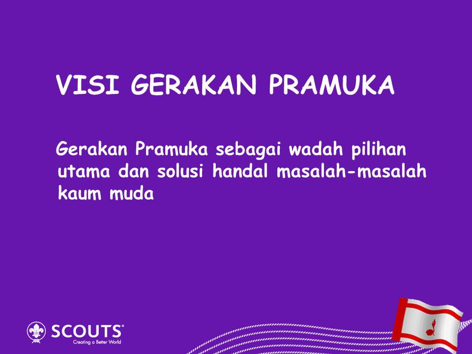 VISI GERAKAN PRAMUKA Gerakan Pramuka sebagai wadah pilihan utama dan solusi handal masalah-masalah kaum muda.