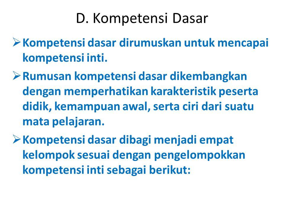 D. Kompetensi Dasar Kompetensi dasar dirumuskan untuk mencapai kompetensi inti.
