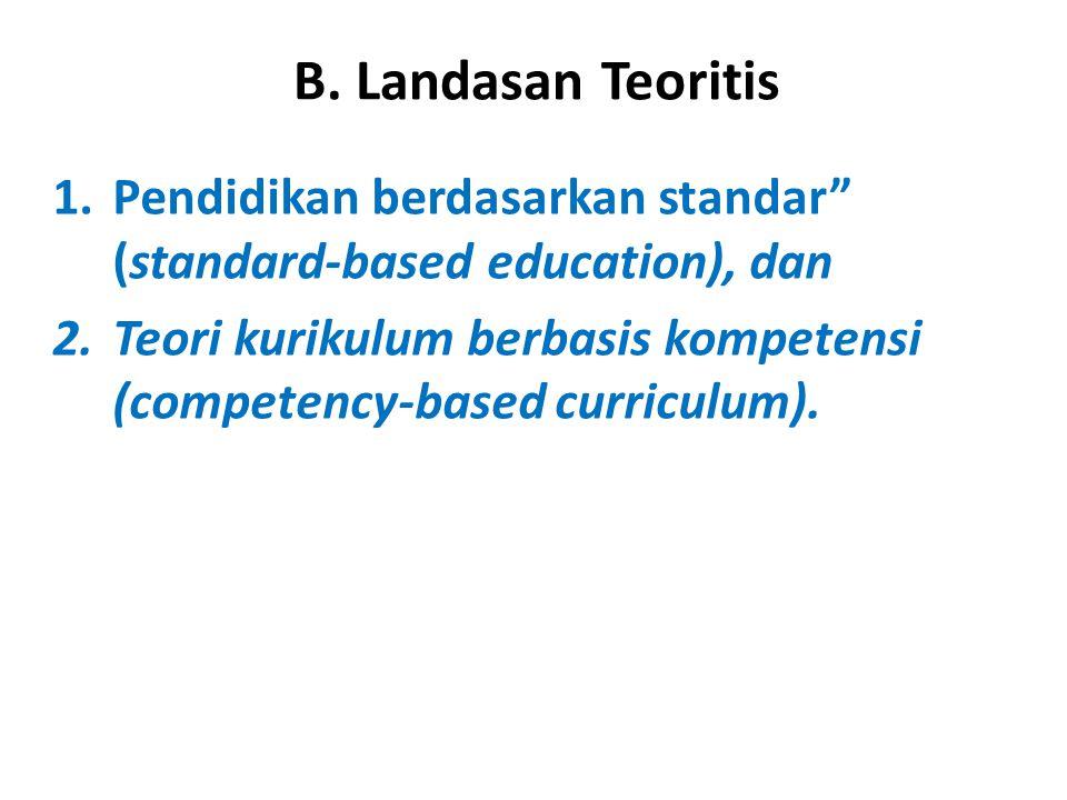 B. Landasan Teoritis Pendidikan berdasarkan standar (standard-based education), dan.