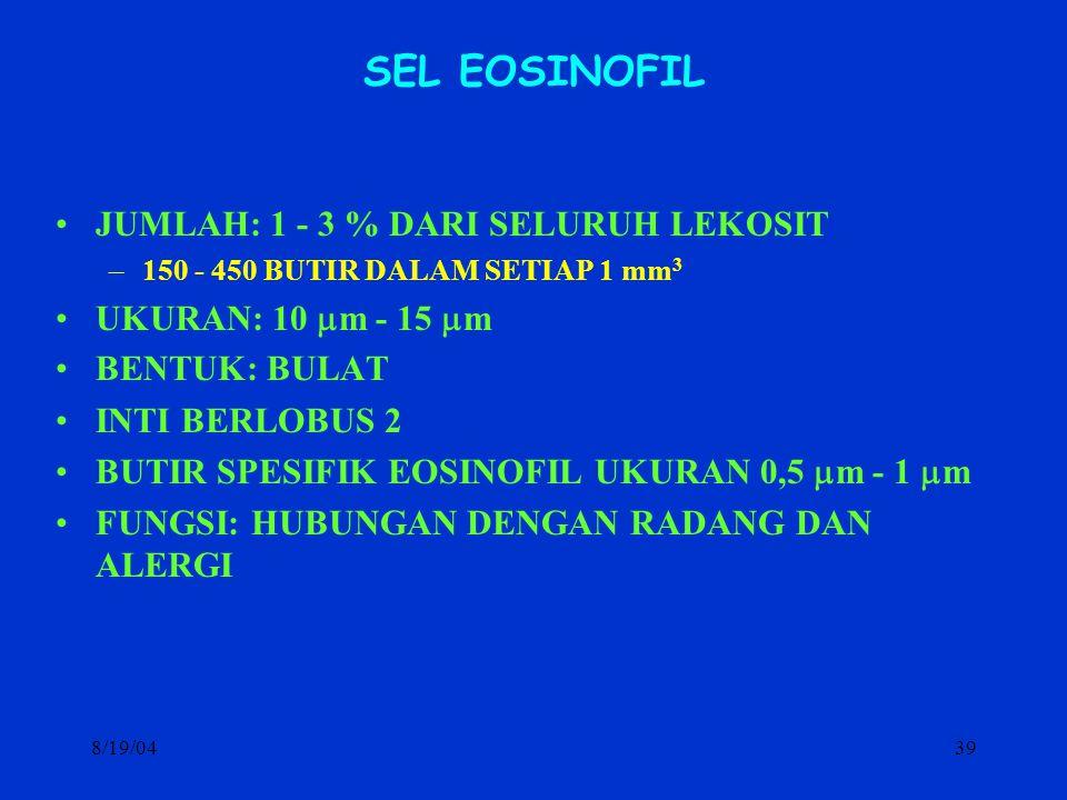 SEL EOSINOFIL JUMLAH: 1 - 3 % DARI SELURUH LEKOSIT
