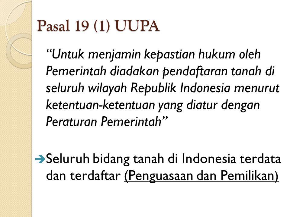 Pasal 19 (1) UUPA